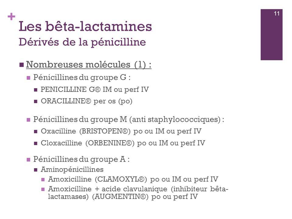 + Les bêta-lactamines Dérivés de la pénicilline  Nombreuses molécules (1) :  Pénicillines du groupe G :  PENICILLINE G® IM ou perf IV  ORACILLINE®