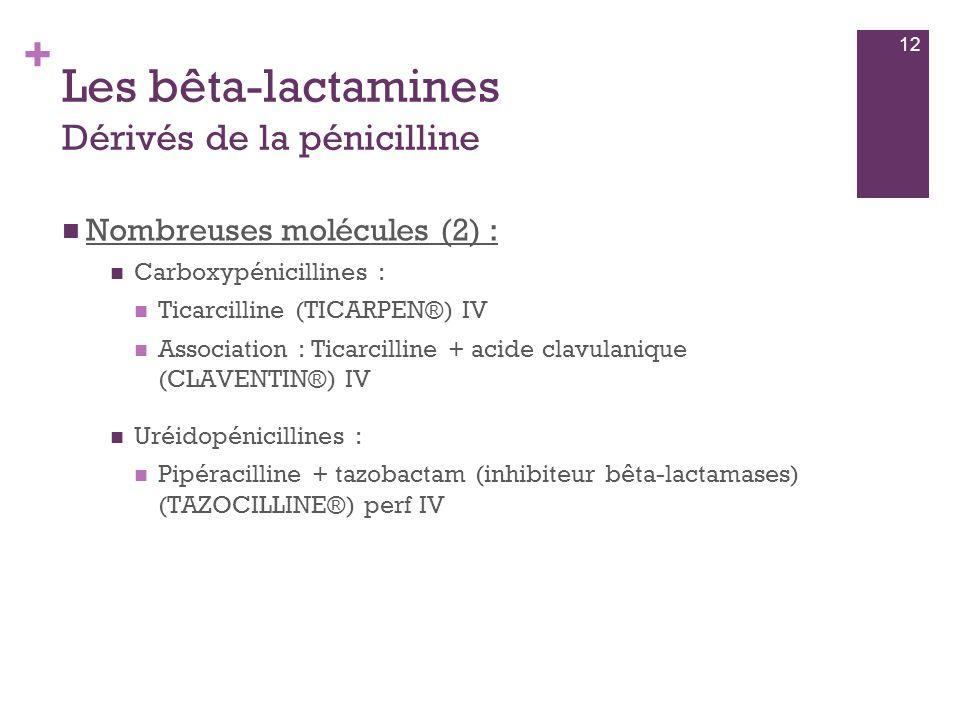 + Les bêta-lactamines Dérivés de la pénicilline  Nombreuses molécules (2) :  Carboxypénicillines :  Ticarcilline (TICARPEN®) IV  Association : Tic