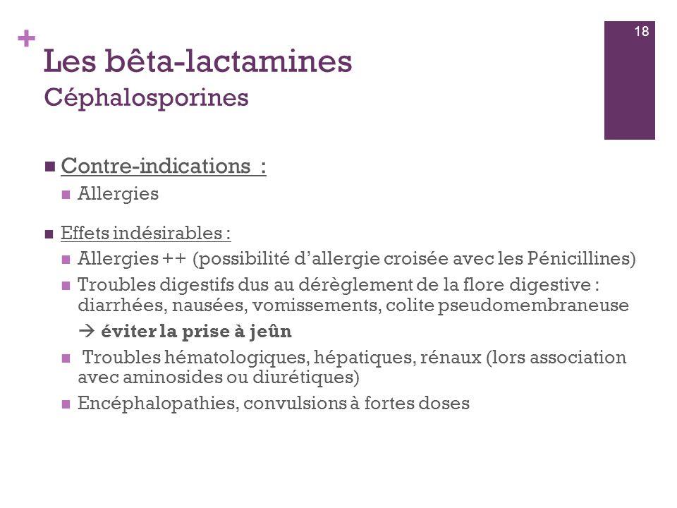 + Les bêta-lactamines Céphalosporines  Contre-indications :  Allergies  Effets indésirables :  Allergies ++ (possibilité d'allergie croisée avec l