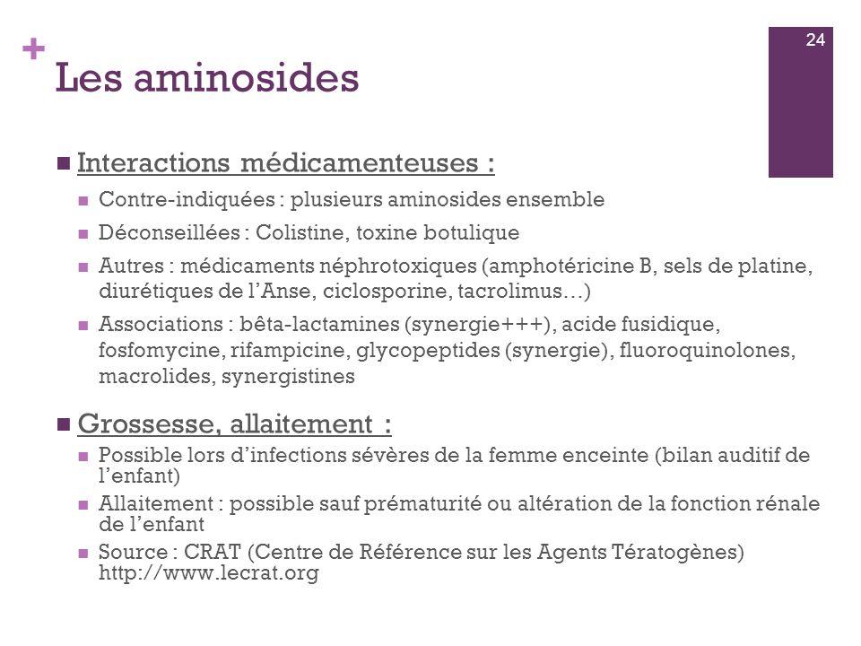 + Les aminosides  Interactions médicamenteuses :  Contre-indiquées : plusieurs aminosides ensemble  Déconseillées : Colistine, toxine botulique  A