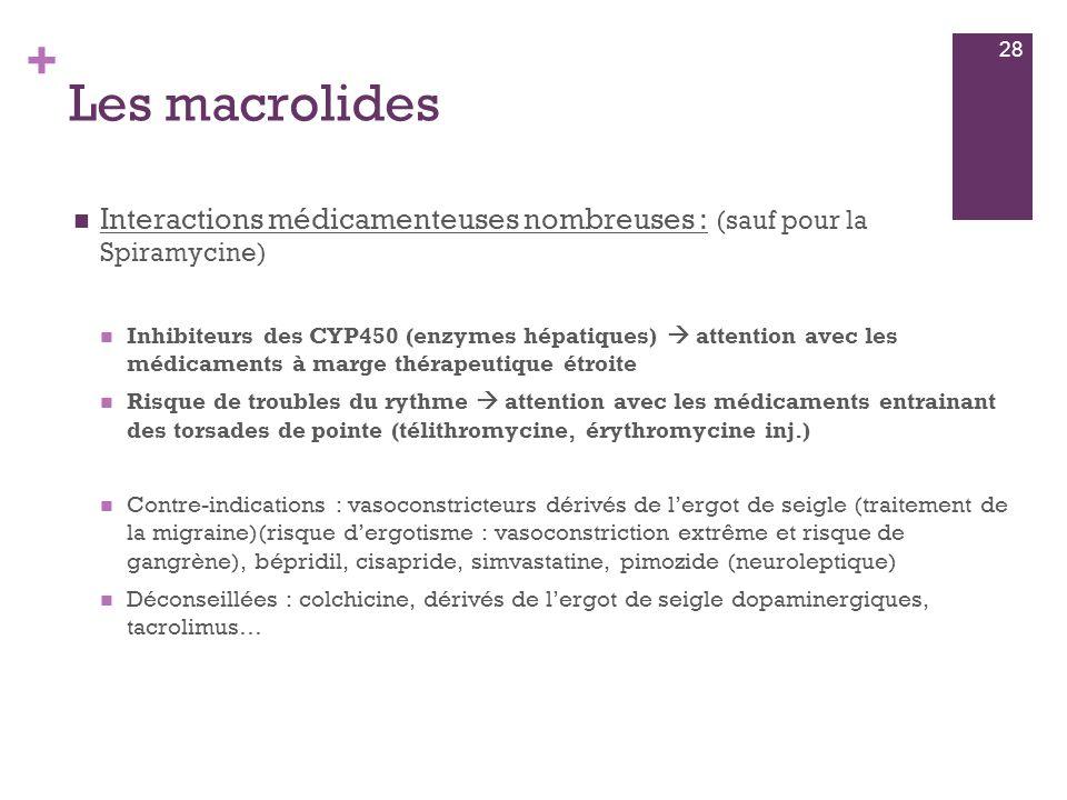 + Les macrolides  Interactions médicamenteuses nombreuses : (sauf pour la Spiramycine)  Inhibiteurs des CYP450 (enzymes hépatiques)  attention avec