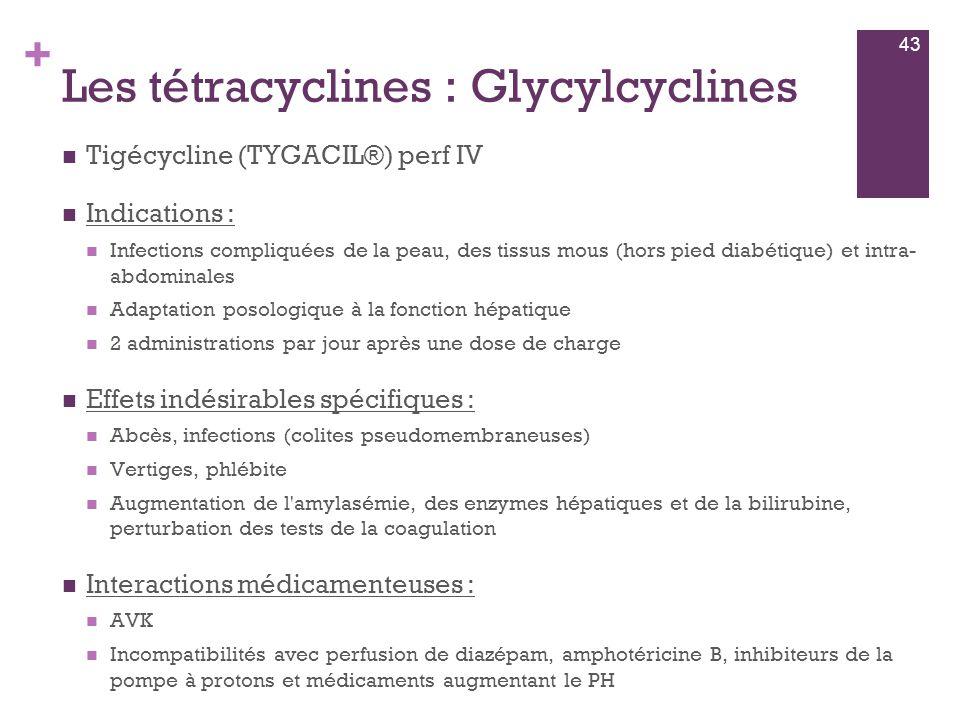 + Les tétracyclines : Glycylcyclines  Tigécycline (TYGACIL®) perf IV  Indications :  Infections compliquées de la peau, des tissus mous (hors pied