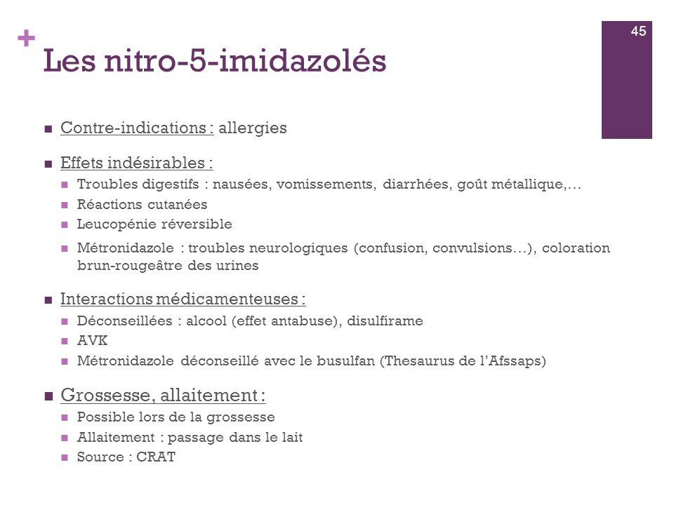+ Les nitro-5-imidazolés  Contre-indications : allergies  Effets indésirables :  Troubles digestifs : nausées, vomissements, diarrhées, goût métall