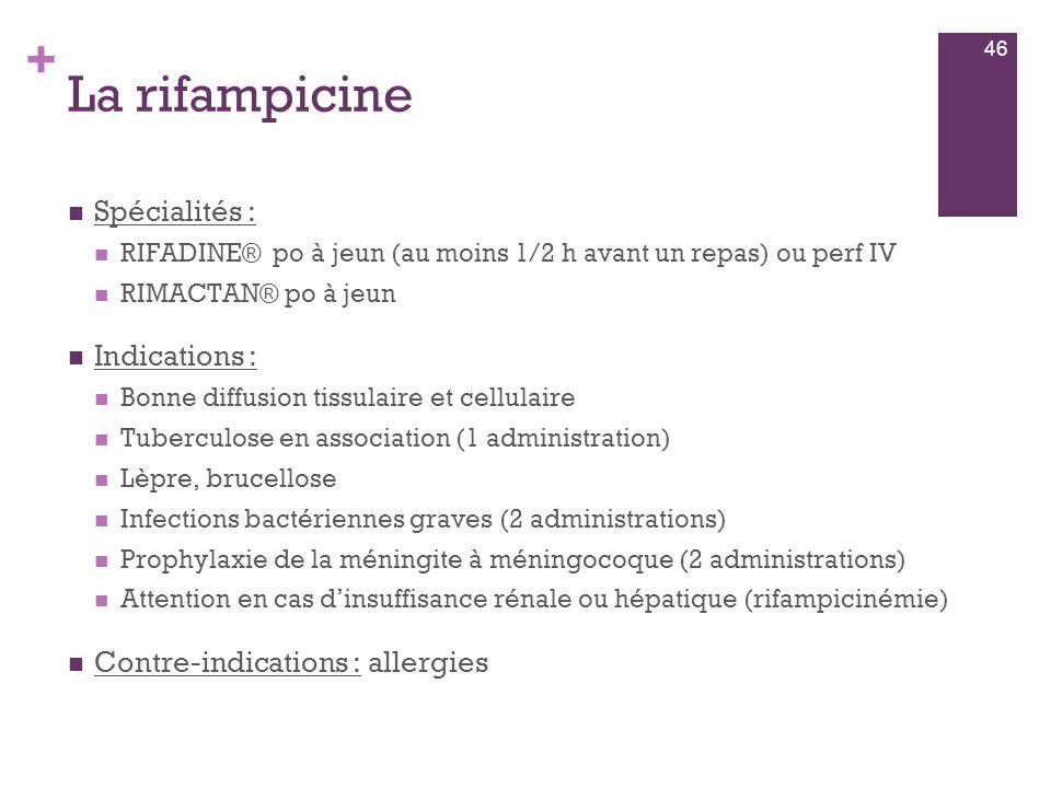 + La rifampicine  Spécialités :  RIFADINE® po à jeun (au moins 1/2 h avant un repas) ou perf IV  RIMACTAN® po à jeun  Indications :  Bonne diffus