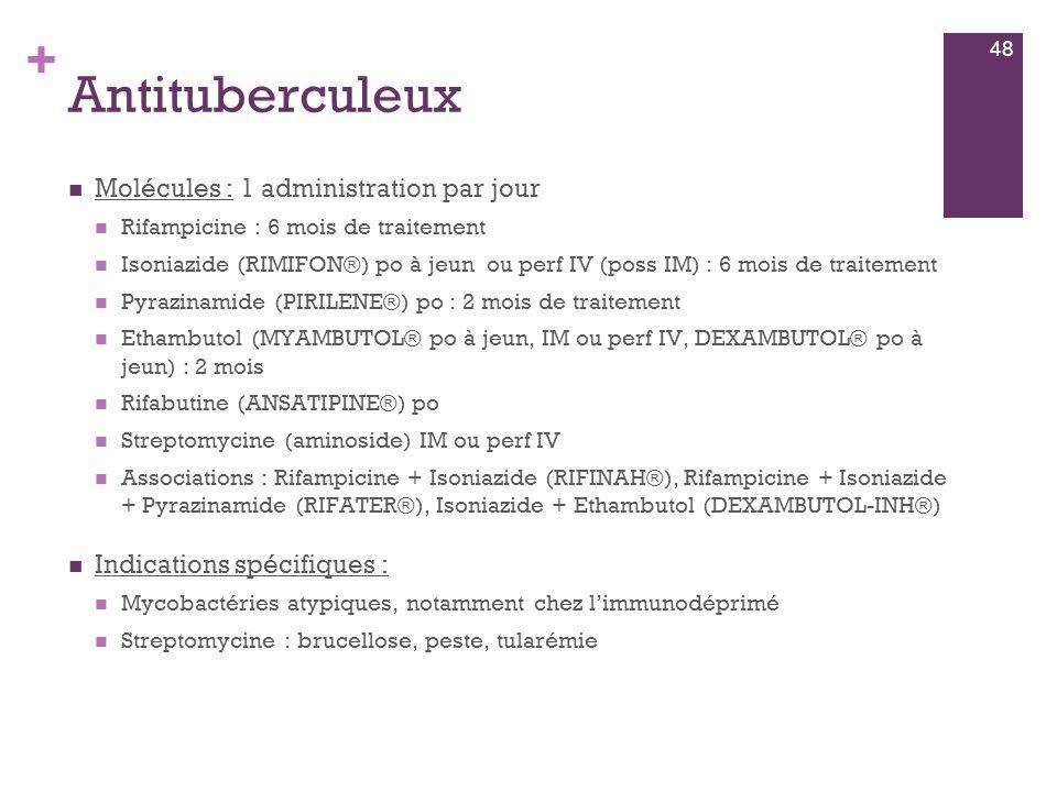 + Antituberculeux  Molécules : 1 administration par jour  Rifampicine : 6 mois de traitement  Isoniazide (RIMIFON®) po à jeun ou perf IV (poss IM)