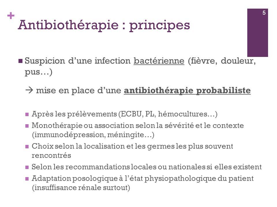 + Antibiothérapie : principes  Suspicion d'une infection bactérienne (fièvre, douleur, pus…)  mise en place d'une antibiothérapie probabiliste  Apr