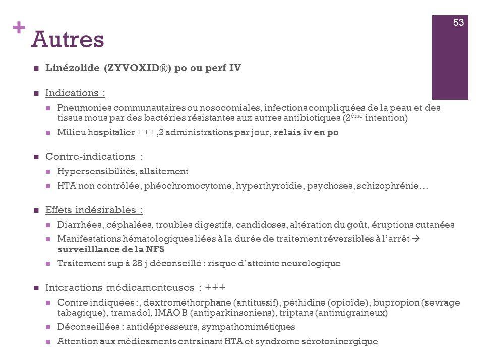 + Autres  Linézolide (ZYVOXID®) po ou perf IV  Indications :  Pneumonies communautaires ou nosocomiales, infections compliquées de la peau et des t
