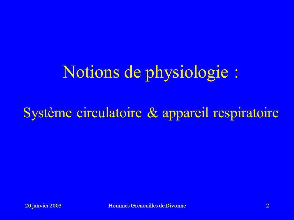 20 janvier 2003Hommes Grenouilles de Divonne2 Notions de physiologie : Système circulatoire & appareil respiratoire
