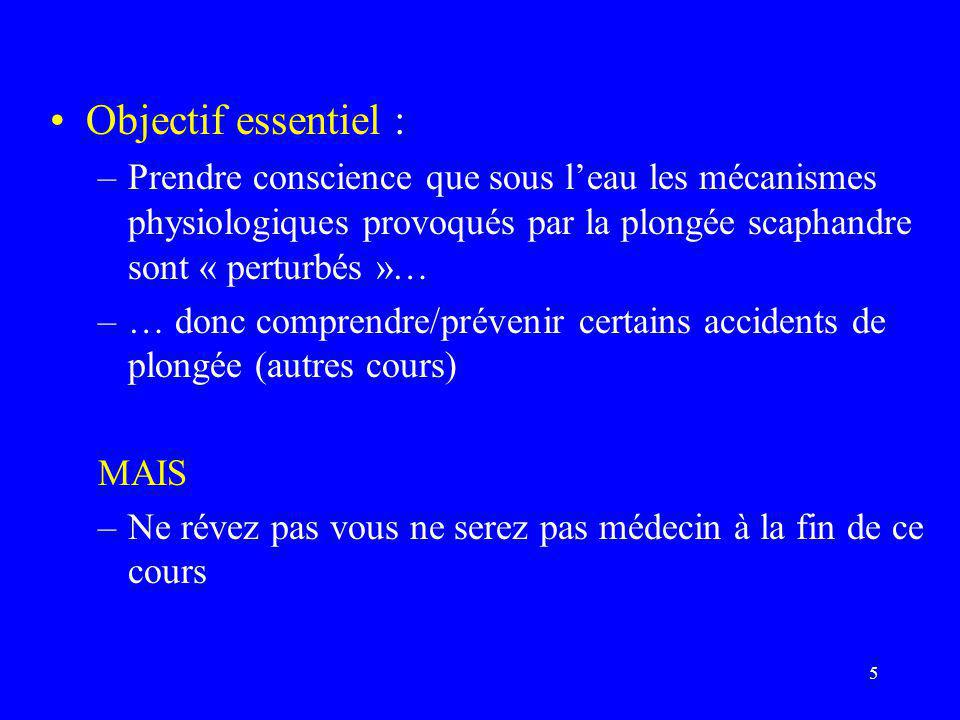 5 •Objectif essentiel : –Prendre conscience que sous l'eau les mécanismes physiologiques provoqués par la plongée scaphandre sont « perturbés »… –… do