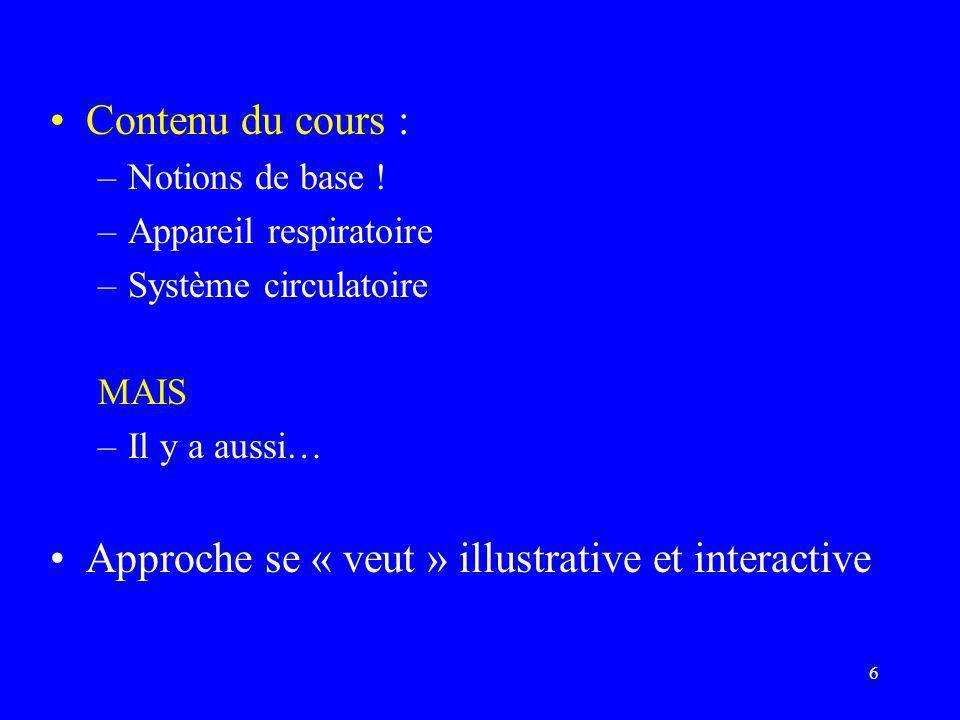 6 •Contenu du cours : –Notions de base ! –Appareil respiratoire –Système circulatoire MAIS –Il y a aussi… •Approche se « veut » illustrative et intera