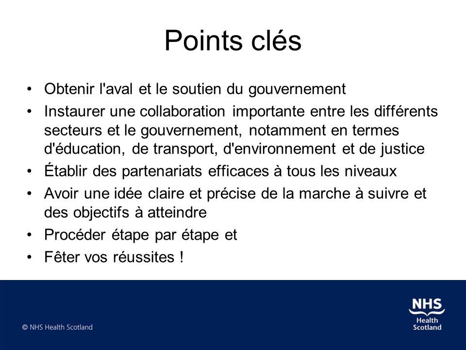 Points clés •Obtenir l'aval et le soutien du gouvernement •Instaurer une collaboration importante entre les différents secteurs et le gouvernement, no