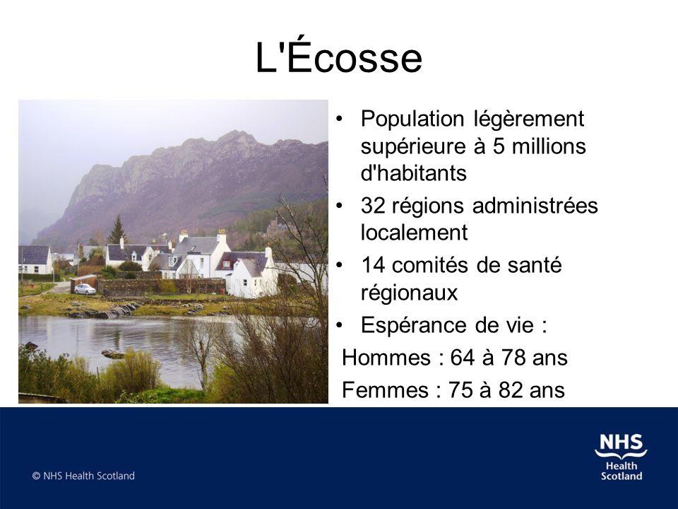 L'Écosse •Population légèrement supérieure à 5 millions d'habitants •32 régions administrées localement •14 comités de santé régionaux •Espérance de v