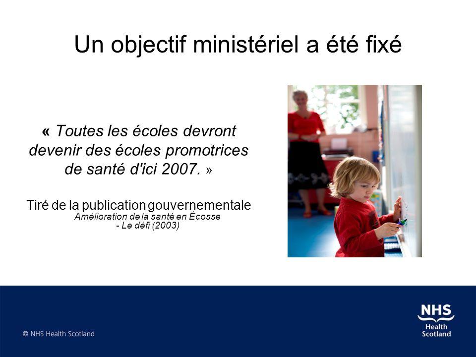 Un objectif ministériel a été fixé « Toutes les écoles devront devenir des écoles promotrices de santé d'ici 2007. » Tiré de la publication gouverneme