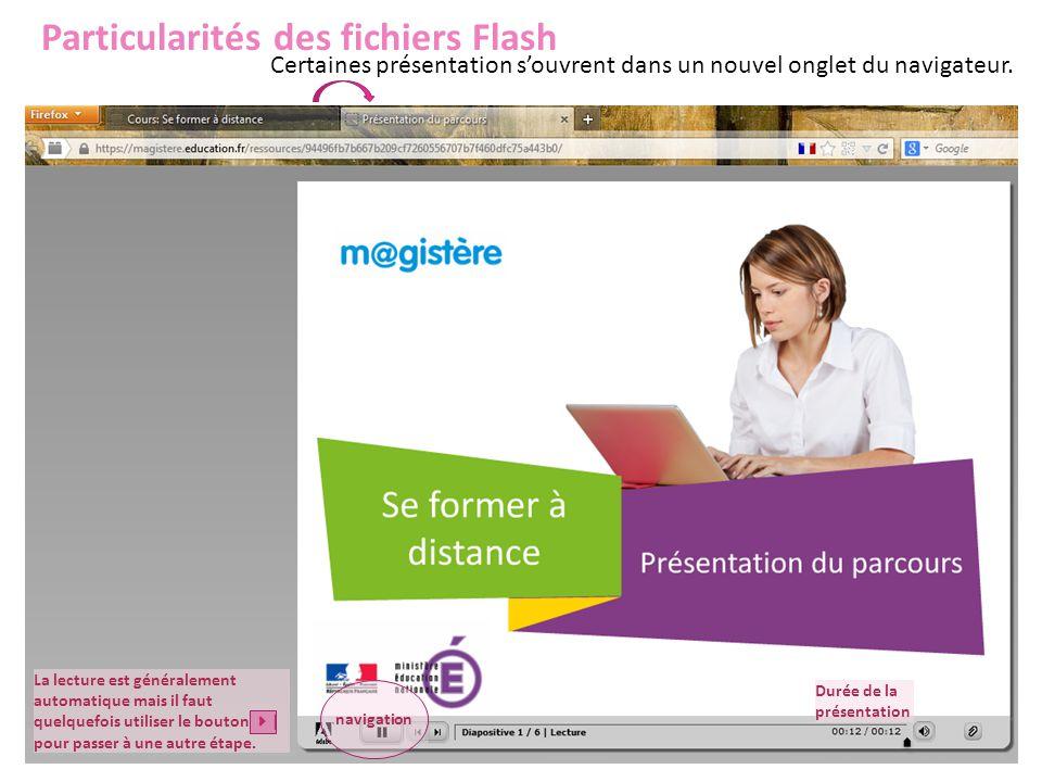 Particularités des fichiers Flash Certaines présentation s'ouvrent dans un nouvel onglet du navigateur. Durée de la présentation navigation La lecture