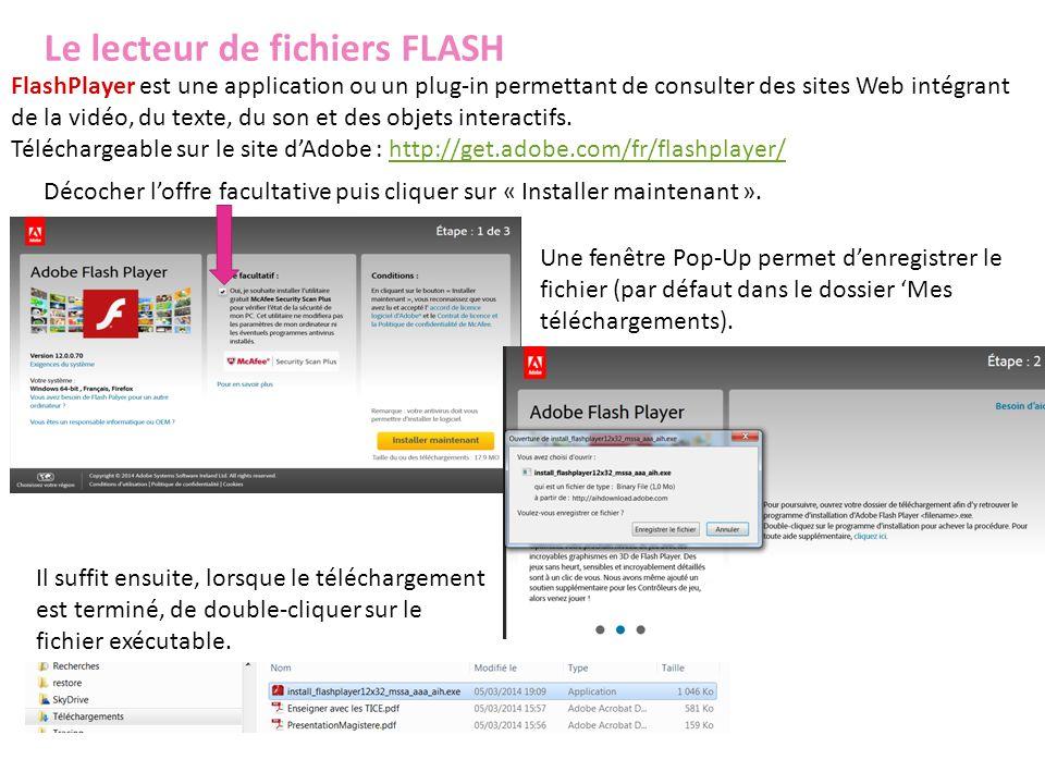 Le lecteur de fichiers FLASH FlashPlayer est une application ou un plug-in permettant de consulter des sites Web intégrant de la vidéo, du texte, du s