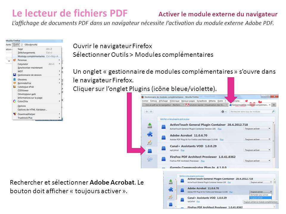 Le lecteur de fichiers PDF Activer le module externe du navigateur L'affichage de documents PDF dans un navigateur nécessite l'activation du module ex