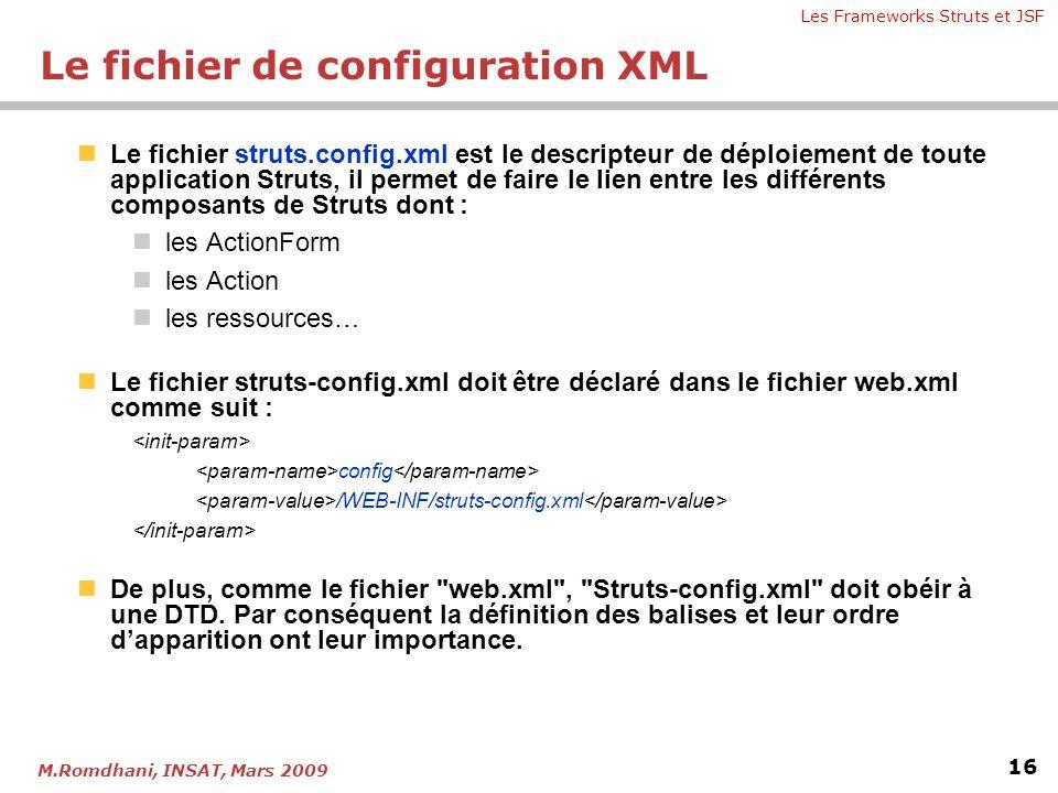 Les Frameworks Struts et JSF 16 M.Romdhani, INSAT, Mars 2009  Le fichier struts.config.xml est le descripteur de déploiement de toute application Str