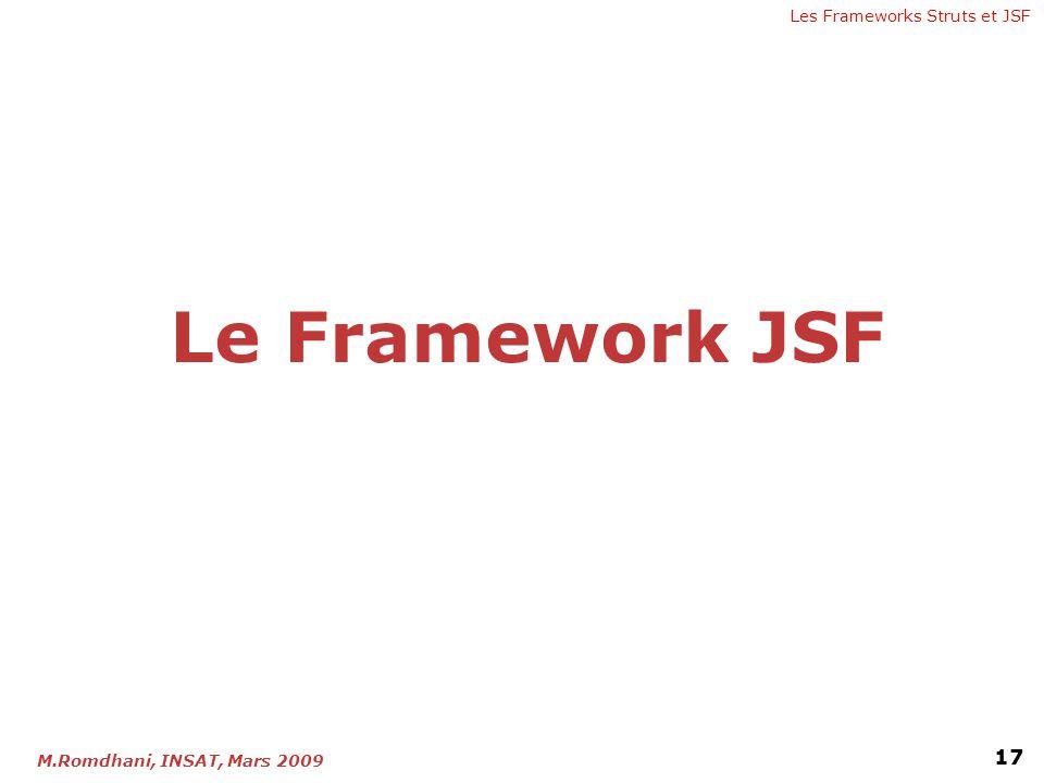 Les Frameworks Struts et JSF 17 M.Romdhani, INSAT, Mars 2009 Le Framework JSF