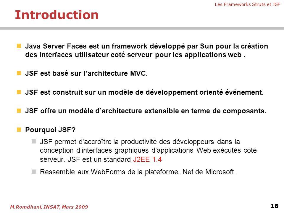 Les Frameworks Struts et JSF 18 M.Romdhani, INSAT, Mars 2009  Java Server Faces est un framework développé par Sun pour la création des interfaces ut