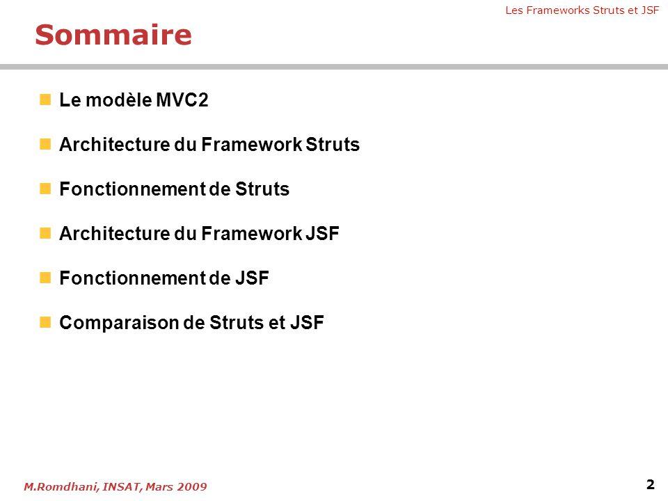 Les Frameworks Struts et JSF 2 M.Romdhani, INSAT, Mars 2009 Sommaire  Le modèle MVC2  Architecture du Framework Struts  Fonctionnement de Struts 