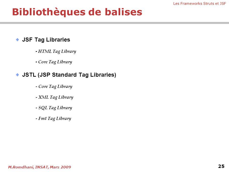 Les Frameworks Struts et JSF 25 M.Romdhani, INSAT, Mars 2009 JSF Tag Libraries L - HTML Tag Library - Core Tag Library JSTL (JSP Standard Tag Librarie