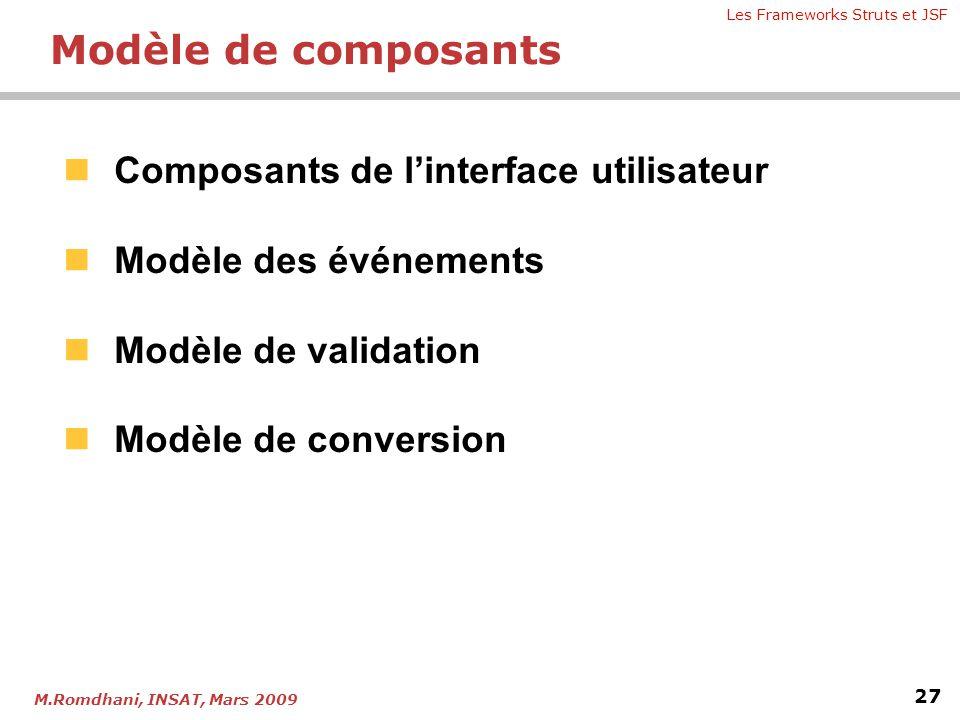 Les Frameworks Struts et JSF 27 M.Romdhani, INSAT, Mars 2009  Composants de l'interface utilisateur  Modèle des événements  Modèle de validation 