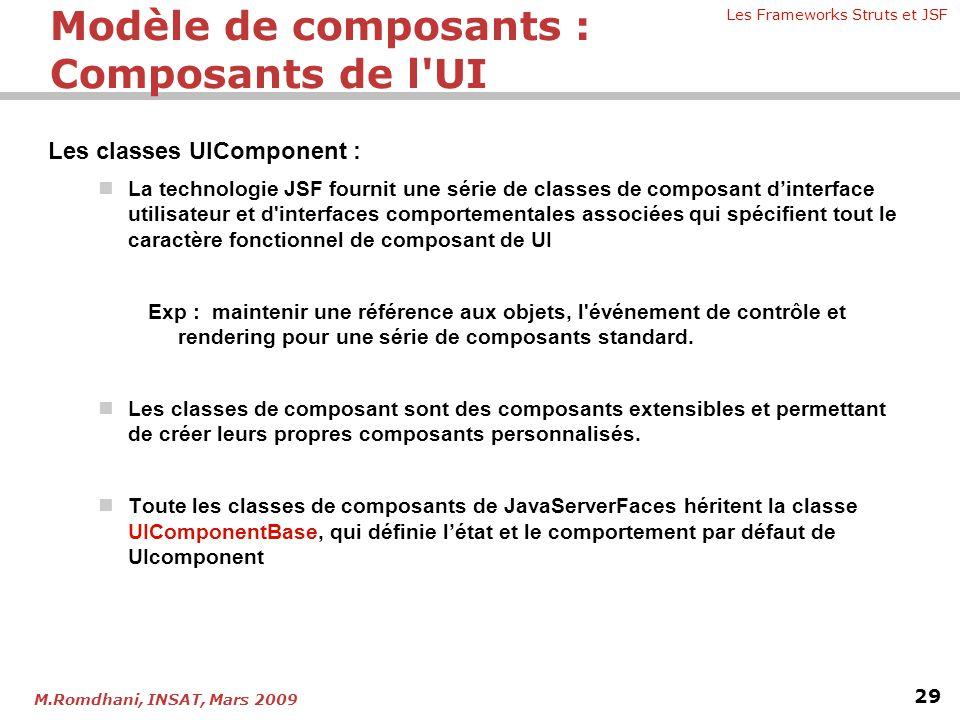 Les Frameworks Struts et JSF 29 M.Romdhani, INSAT, Mars 2009 Les classes UIComponent :  La technologie JSF fournit une série de classes de composant