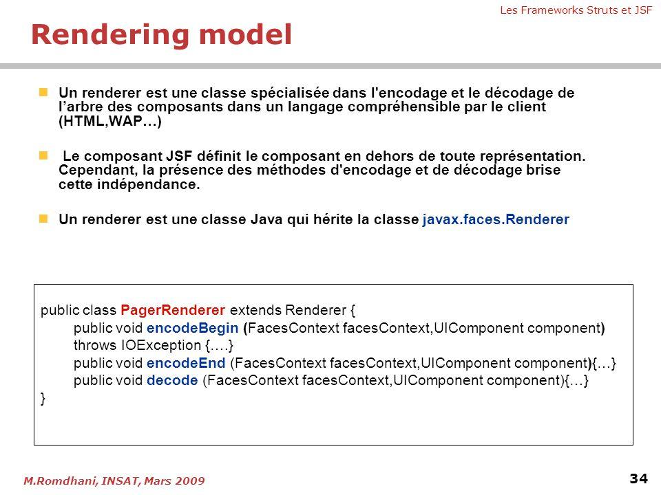 Les Frameworks Struts et JSF 34 M.Romdhani, INSAT, Mars 2009  Un renderer est une classe spécialisée dans l'encodage et le décodage de l'arbre des co