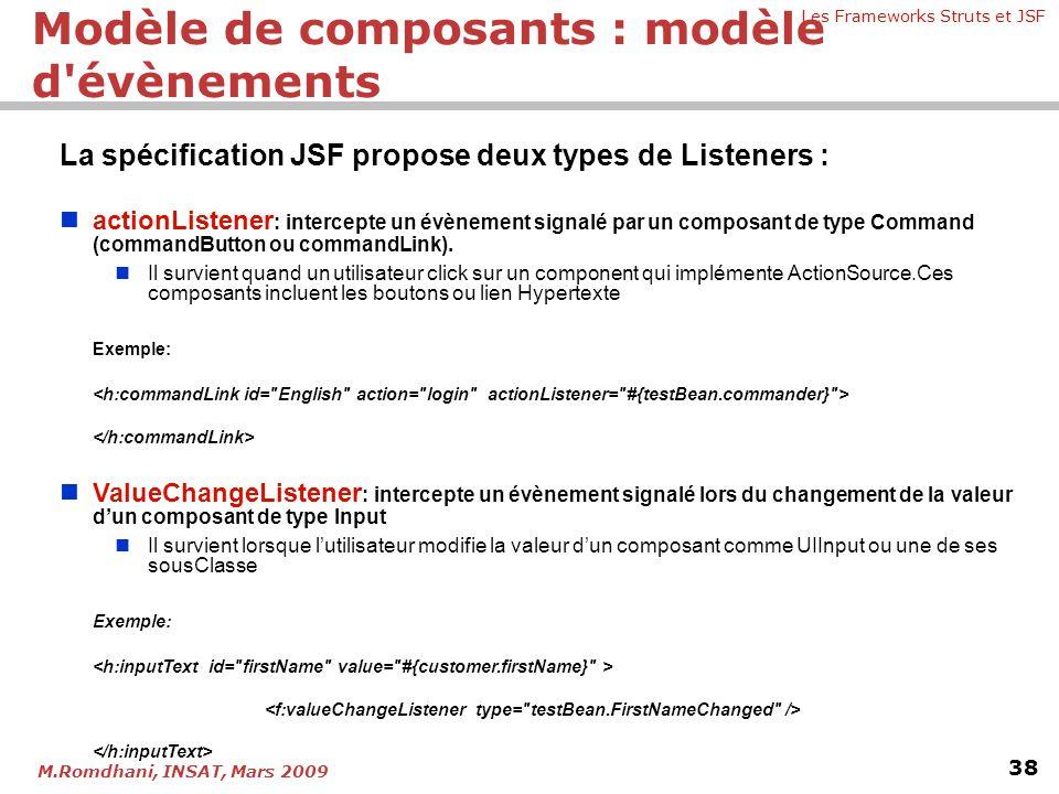Les Frameworks Struts et JSF 38 M.Romdhani, INSAT, Mars 2009 La spécification JSF propose deux types de Listeners :   actionListener : intercepte un
