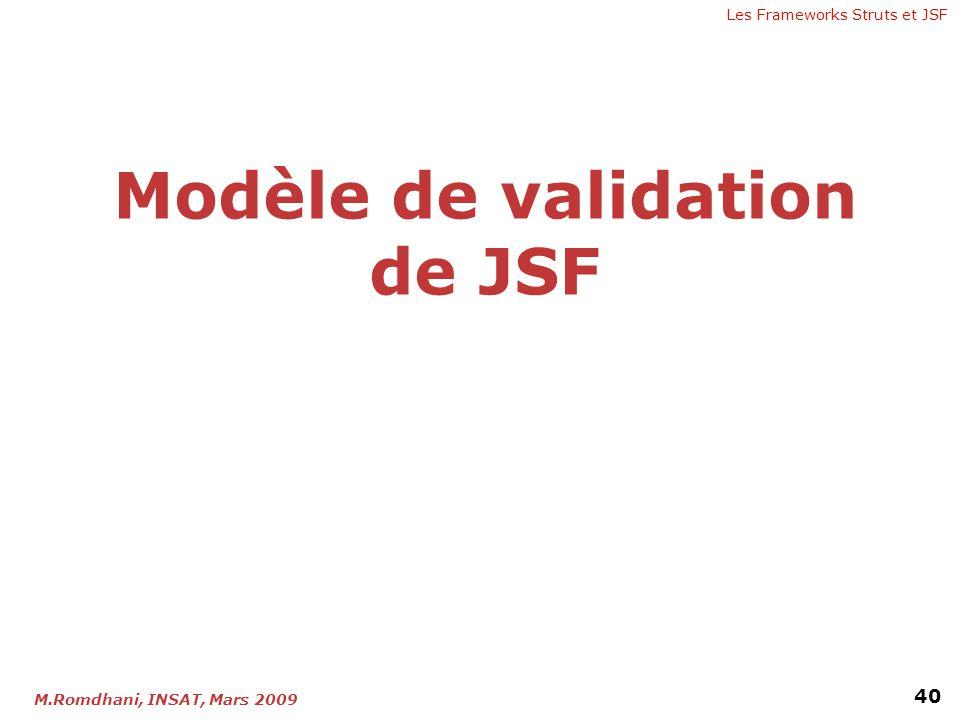 Les Frameworks Struts et JSF 40 M.Romdhani, INSAT, Mars 2009 Modèle de validation de JSF
