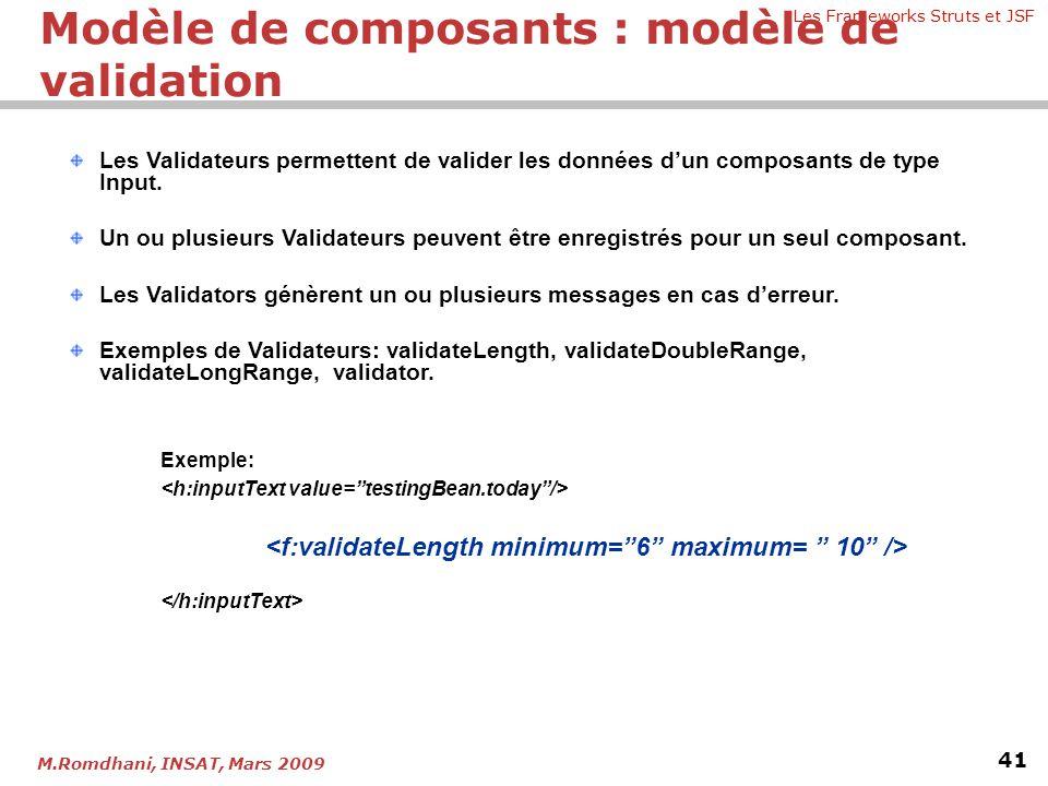 Les Frameworks Struts et JSF 41 M.Romdhani, INSAT, Mars 2009 Les Validateurs permettent de valider les données d'un composants de type Input. Un ou pl
