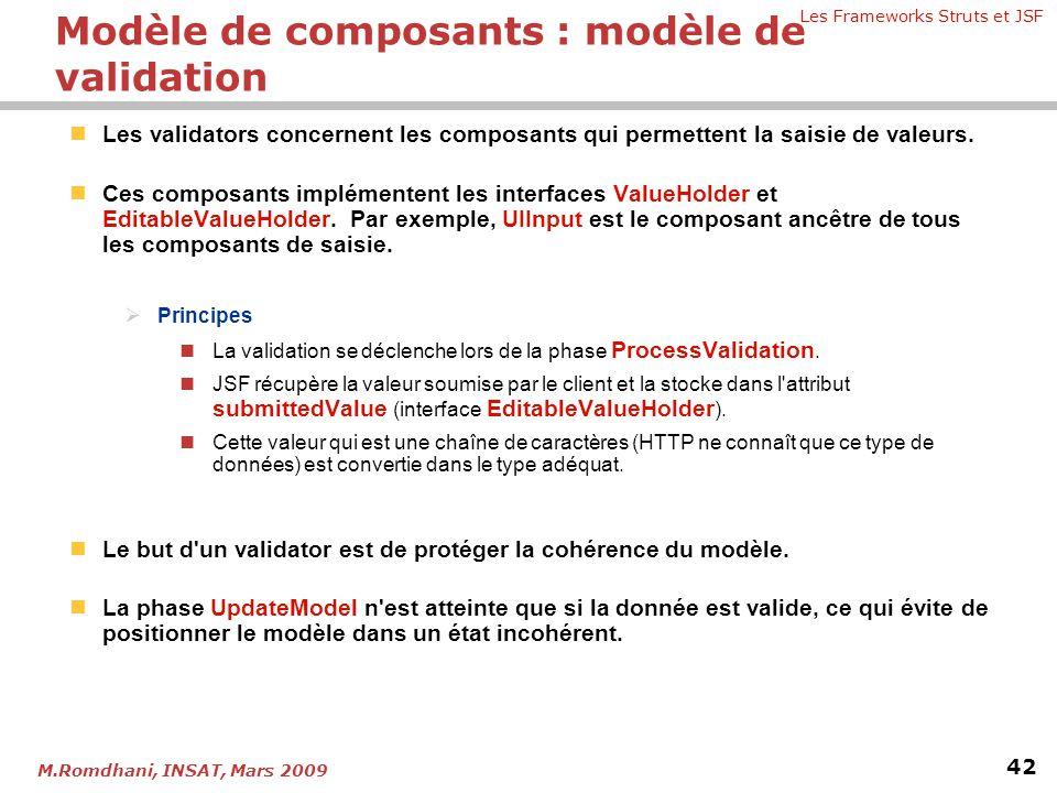 Les Frameworks Struts et JSF 42 M.Romdhani, INSAT, Mars 2009  Les validators concernent les composants qui permettent la saisie de valeurs.  Ces com
