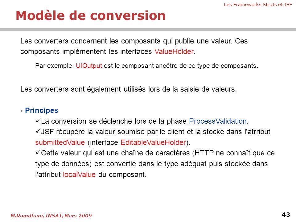 Les Frameworks Struts et JSF 43 M.Romdhani, INSAT, Mars 2009 Les converters concernent les composants qui publie une valeur. Ces composants implémente