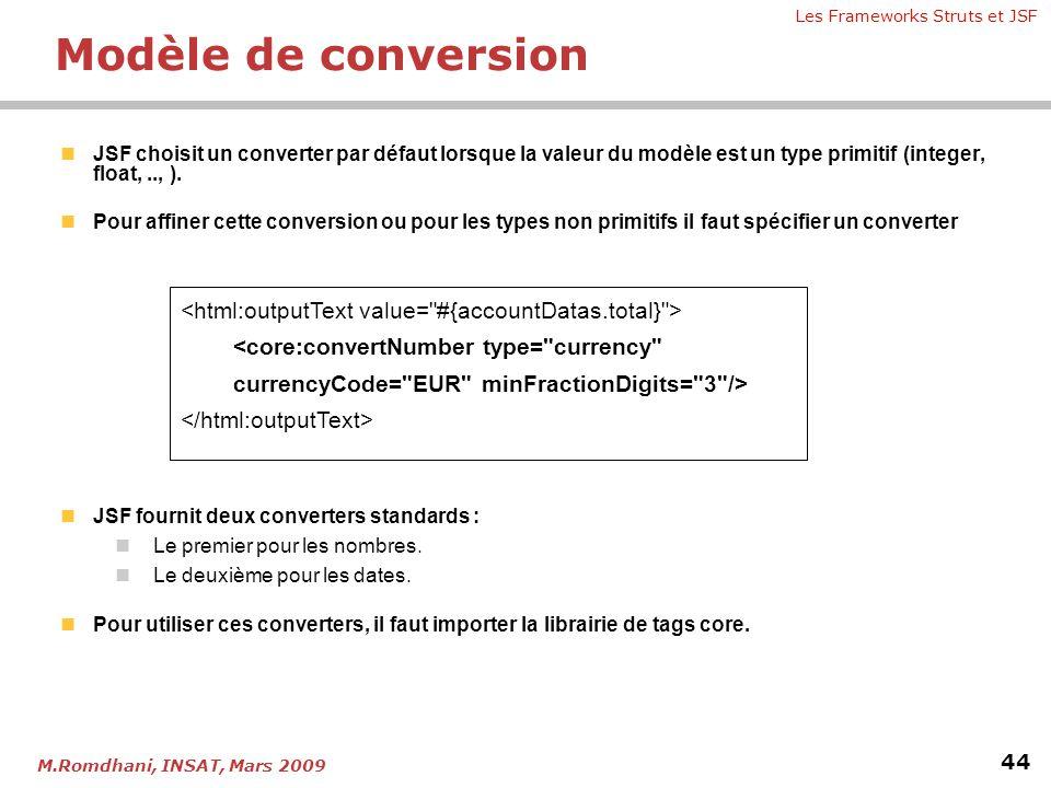 Les Frameworks Struts et JSF 44 M.Romdhani, INSAT, Mars 2009 Modèle de conversion  JSF choisit un converter par défaut lorsque la valeur du modèle es