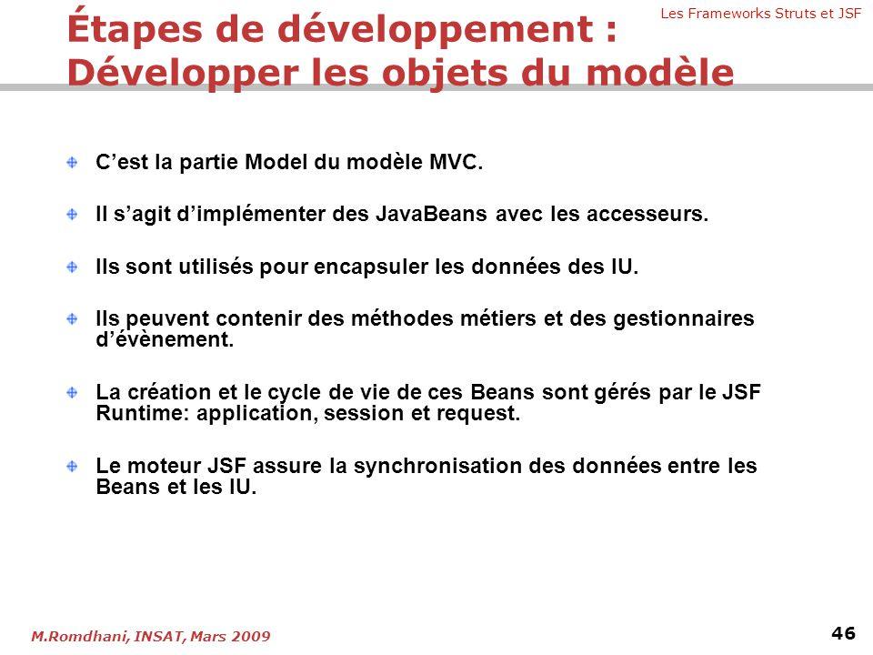 Les Frameworks Struts et JSF 46 M.Romdhani, INSAT, Mars 2009 C'est la partie Model du modèle MVC. Il s'agit d'implémenter des JavaBeans avec les acces