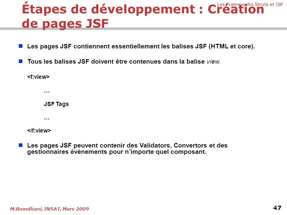 Les Frameworks Struts et JSF 47 M.Romdhani, INSAT, Mars 2009   Les pages JSF contiennent essentiellement les balises JSF (HTML et core).   Tous le