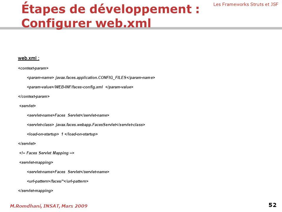 Les Frameworks Struts et JSF 52 M.Romdhani, INSAT, Mars 2009 web.xml : javax.faces.application.CONFIG_FILES /WEB-INF/faces-config.xml Faces Servlet ja