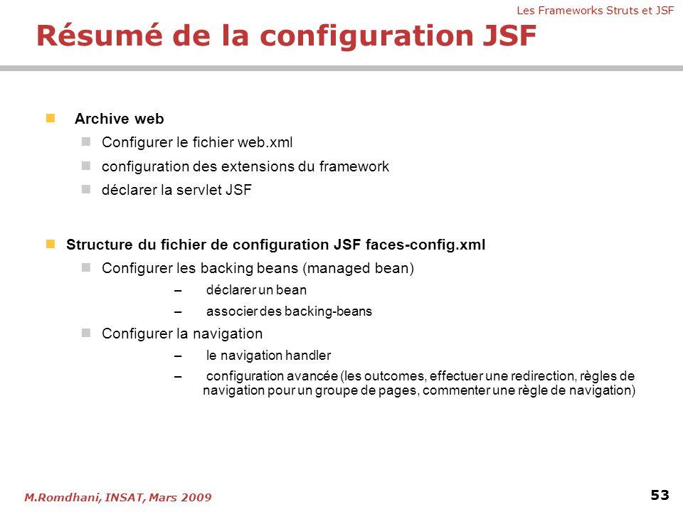 Les Frameworks Struts et JSF 53 M.Romdhani, INSAT, Mars 2009  Archive web  Configurer le fichier web.xml  configuration des extensions du framework