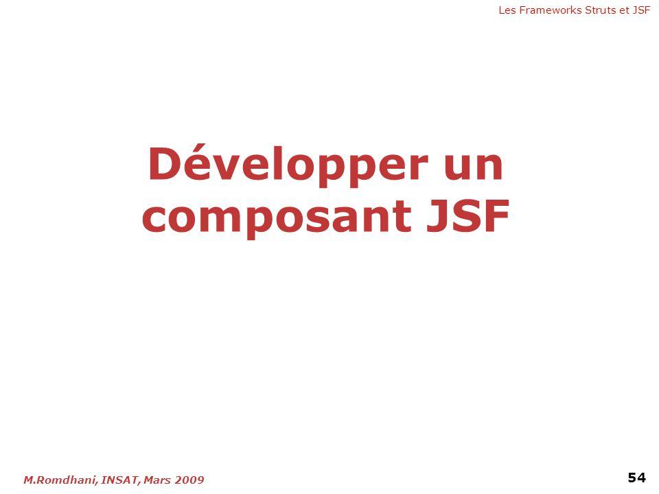Les Frameworks Struts et JSF 54 M.Romdhani, INSAT, Mars 2009 Développer un composant JSF