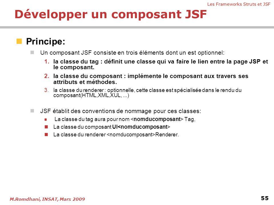 Les Frameworks Struts et JSF 55 M.Romdhani, INSAT, Mars 2009  Principe:  Un composant JSF consiste en trois éléments dont un est optionnel: 1.la cla