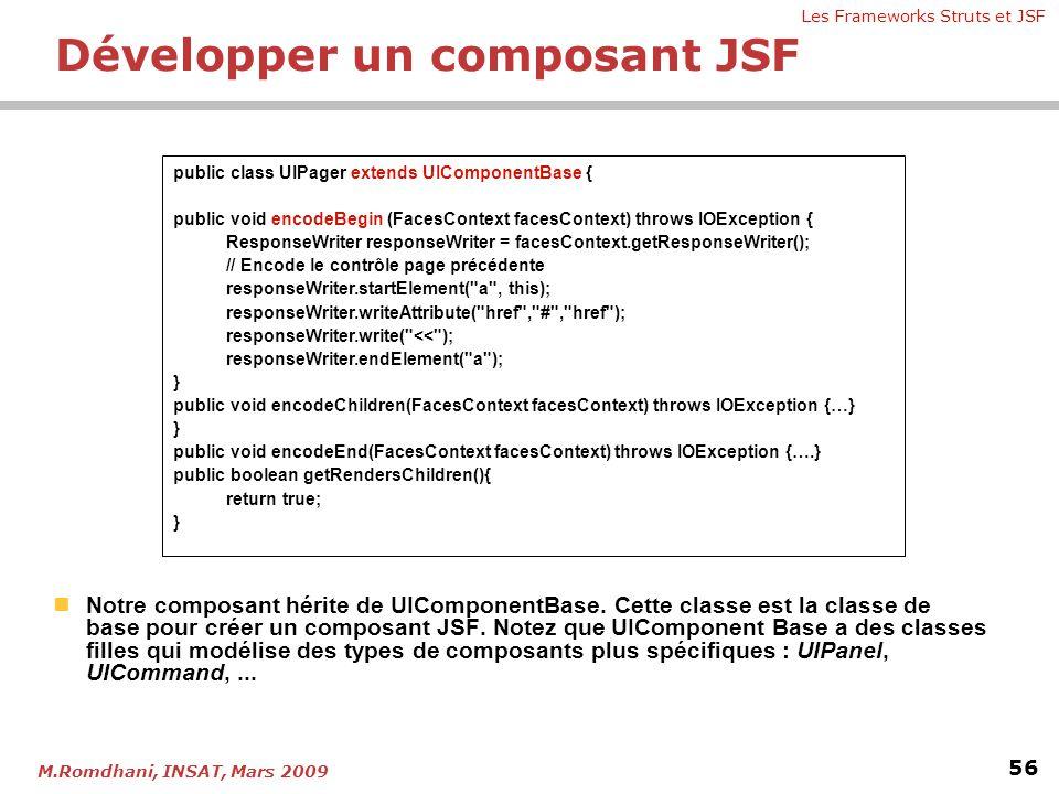 Les Frameworks Struts et JSF 56 M.Romdhani, INSAT, Mars 2009  Notre composant hérite de UIComponentBase. Cette classe est la classe de base pour crée