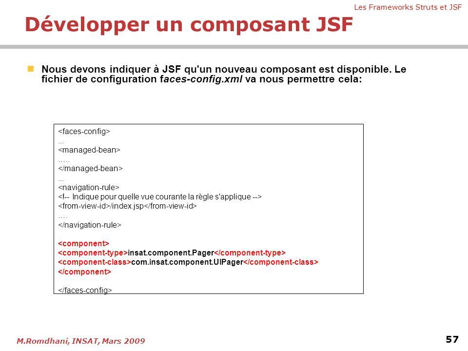 Les Frameworks Struts et JSF 57 M.Romdhani, INSAT, Mars 2009  Nous devons indiquer à JSF qu'un nouveau composant est disponible. Le fichier de config