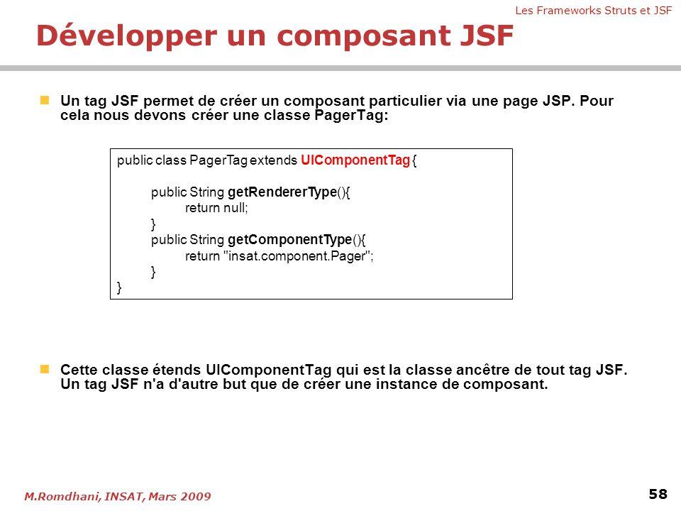Les Frameworks Struts et JSF 58 M.Romdhani, INSAT, Mars 2009  Un tag JSF permet de créer un composant particulier via une page JSP. Pour cela nous de