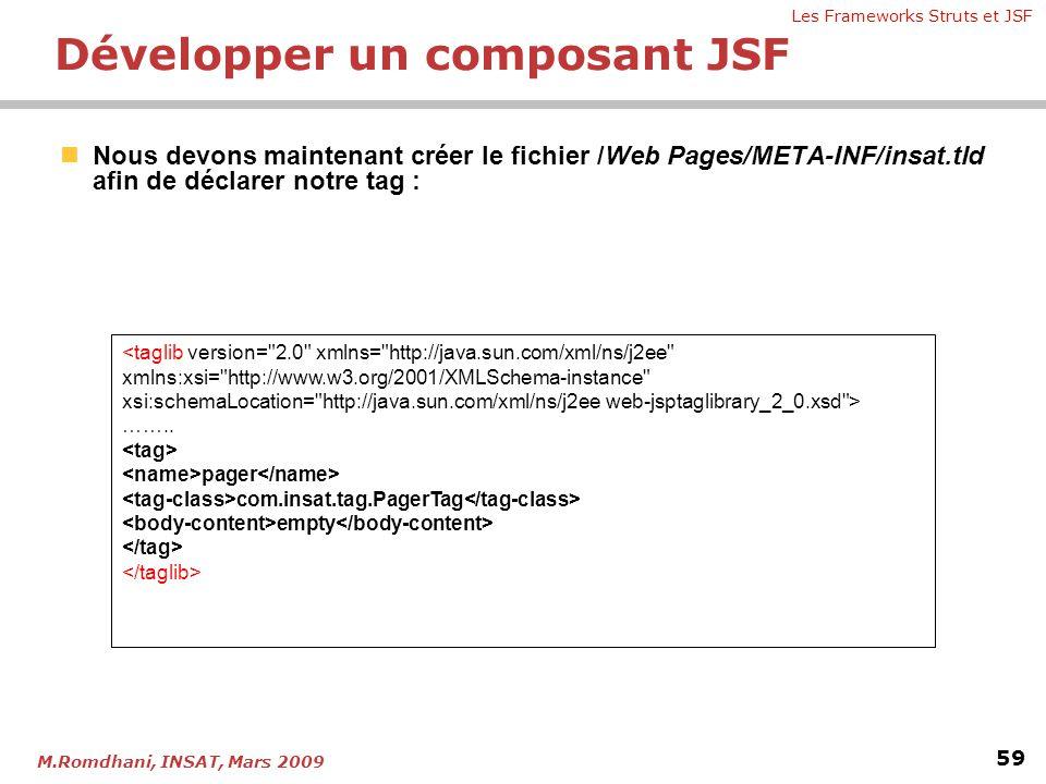 Les Frameworks Struts et JSF 59 M.Romdhani, INSAT, Mars 2009  Nous devons maintenant créer le fichier /Web Pages/META-INF/insat.tld afin de déclarer