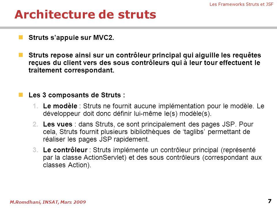 Les Frameworks Struts et JSF 7 M.Romdhani, INSAT, Mars 2009 Architecture de struts  Struts s'appuie sur MVC2.  Struts repose ainsi sur un contrôleur