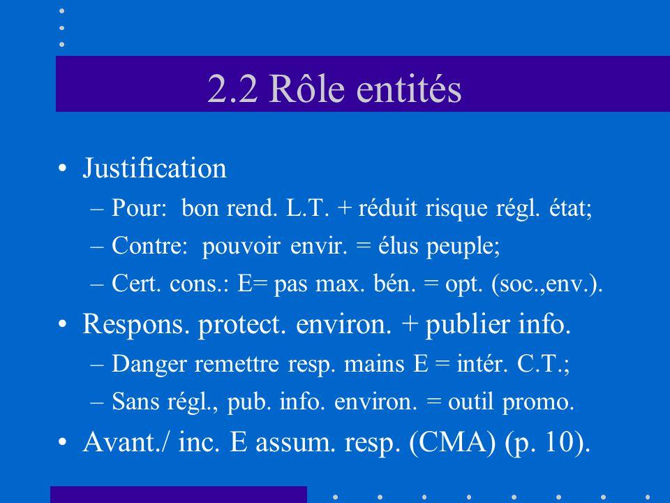 2.2 Rôle entités •Justification –Pour: bon rend. L.T.