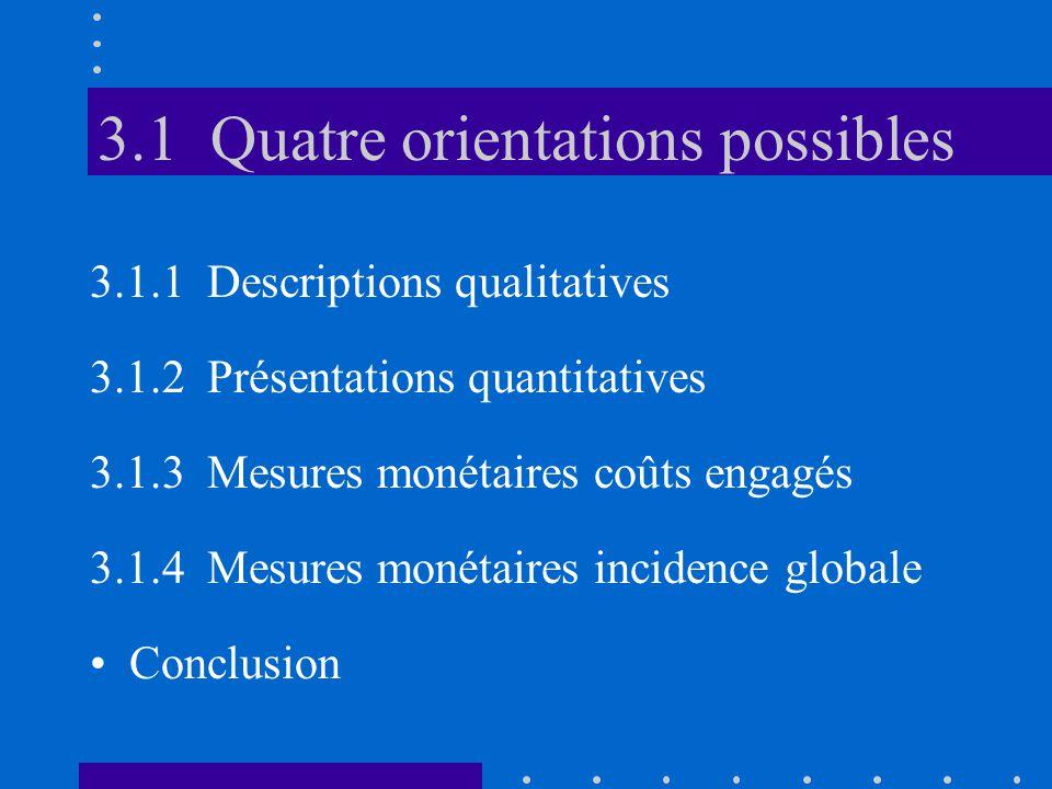 3.1 Quatre orientations possibles 3.1.1 Descriptions qualitatives 3.1.2 Présentations quantitatives 3.1.3 Mesures monétaires coûts engagés 3.1.4 Mesur