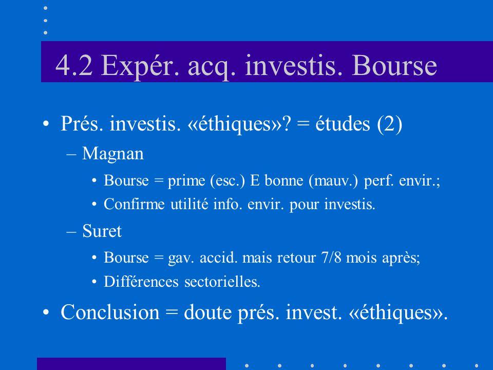4.2 Expér. acq. investis. Bourse •Prés. investis.
