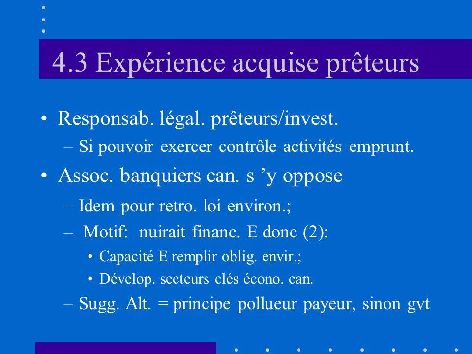 4.3 Expérience acquise prêteurs •Responsab. légal.