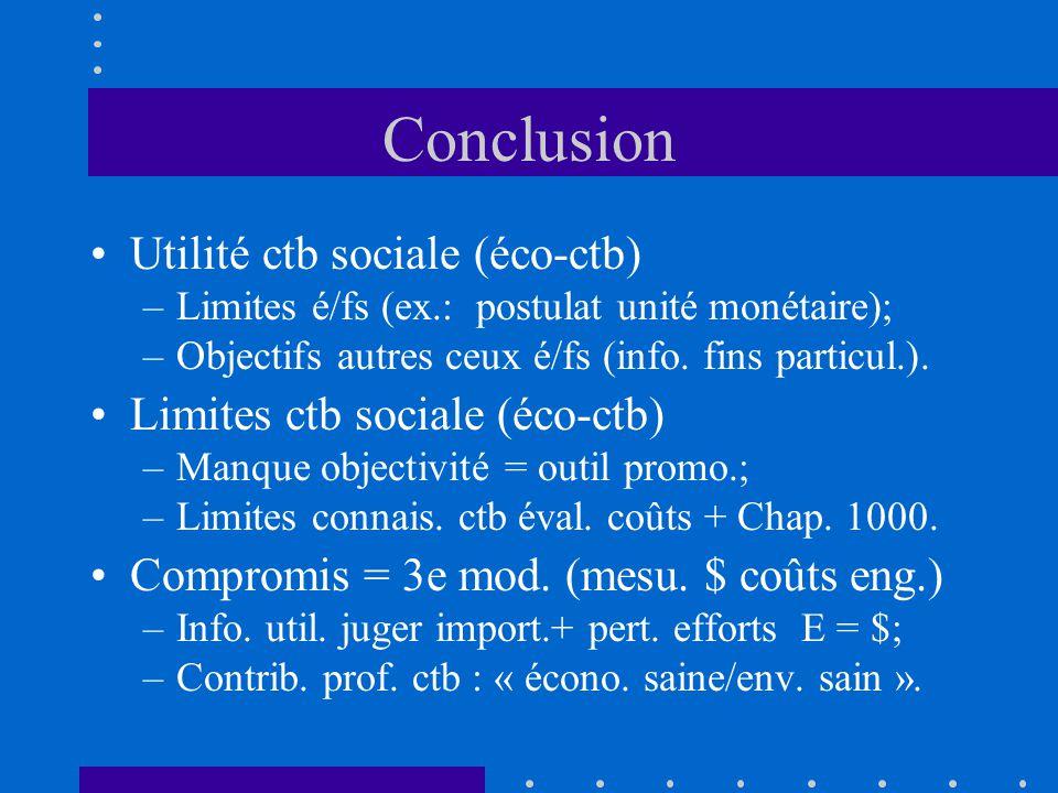 Conclusion •Utilité ctb sociale (éco-ctb) –Limites é/fs (ex.: postulat unité monétaire); –Objectifs autres ceux é/fs (info.